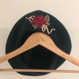 Vintage French Beret with Rose